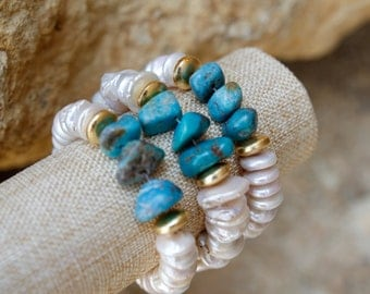 Fresh Water Pearl and Turquoise Stone Bracelet