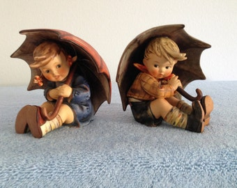4 3/4 inch umbrella boy and girl 152 0 A & 152 0 B with hummel signature stamp engraving.