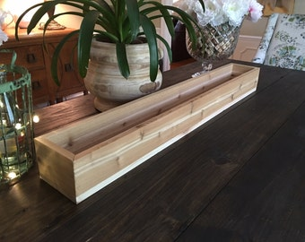 "40"" Rustic Cedar Centerpiece Box; Rustic Wedding Centerpiece; Centerpiece Box - Cedar"