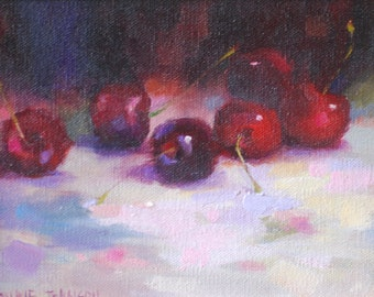 Original Oil Painting on Canvas Frankie Johnson Cherry Drops Unframed Still Life Small Masterpiece Daily Painter KitchenTiny Impressionism