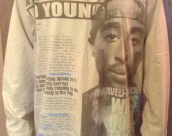 2pac t-shirt, Tupac shirt, 90s hip-hop clothing, 1990s hip hop fashion, og, gangsta rap, size XL