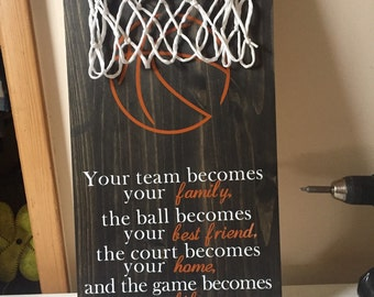 Motivational Basketball Team Family sign