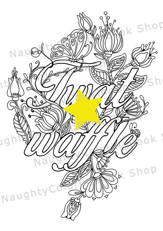 Cuss word coloring page adult coloring page twat waffle for Waffle coloring page