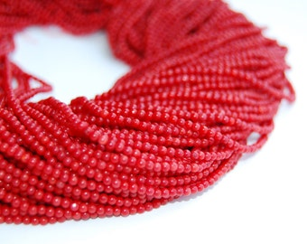 Smooth Round Dark Red Bamboo Coral Loose Beads 15.5'' Long Per Strand Size 2mm.R-S-COR-0345