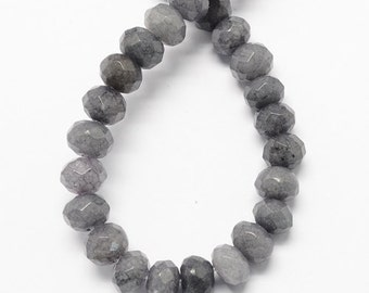"15.3"" Strand Natural Grey Jade Beads Faceted"