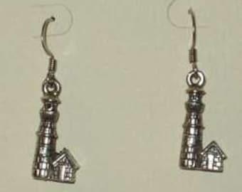 Light House Earrings - pewter charm