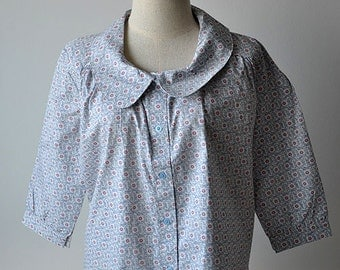 Floral Blue Collared 3/4 Sleeve Cotton Blouse