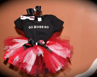 Razorback Tutu Arkansas Razorback Tutu Set Hogs Shirt Baby Girls Razorback Set Razorback Hair-Bow