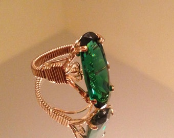 10K Gold Ring with Deep Green Stone