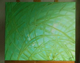 Acrylic abstract painting fern