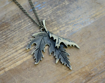 Large Maple Leaf Necklace, Antique Bronze Finish, Vintage Style Charm Pendant & Chain, Canada Jewelry (BB084)