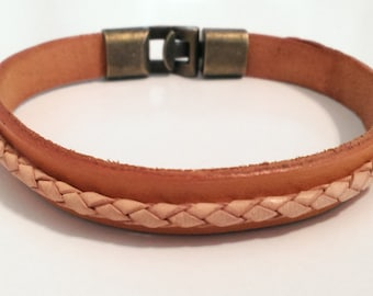 Leather Bracelet with Braided Leather Rope