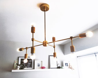 8-Arm Modern Brass Chandelier