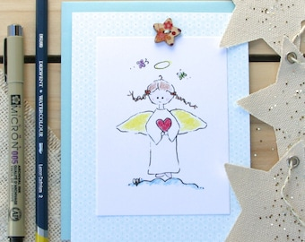 Angel stationery set of six/Religious/Hostess Gift/Blank Notecard/Size A2 with envelopes/Catholic Christian/Heavenly