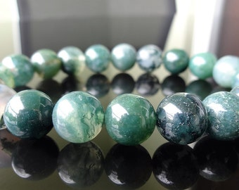 Genuine Emerald Green Moss Agate Bead Bracelet for Men or Women (On Stretch) 10mm AAA Quality