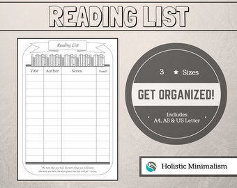 Printable READING LIST Planner  |   Filofax A5, A4 & US Letter  |  Organize Your Life* Book List Planner