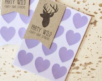 Mini Heart Stickers Pk48 - Lilac Purple