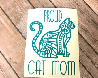 Proud Cat Mom Car Decal, Cat Decal, Cute Cat Decal, Cat Car Decal, Cute Cat Car Decal, Car Decal, Proud to be a Cat Mom, Cat Mom,