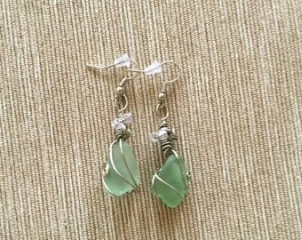 Sea Foam Glass Earrings