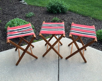 Vintage Canvas & Wood Camp Chairs