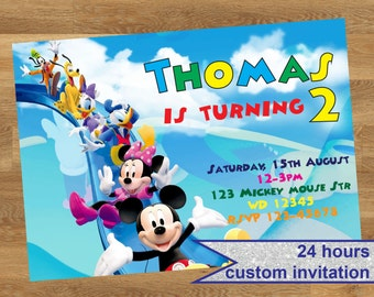 Mickey Mouse clubhouse Invitation, Mickey Mouse clubhouse party invitation, Mickey Mouse Printable invitation, Mickey Mouse party invite