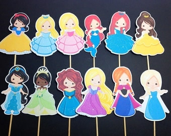 Fairytale Princess Cupcake Toppers (Princess Party, Birthday Princess, Princess Decorations)