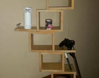Natural wood cube shelving