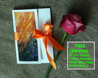 "Handpainted Greeting Card,6,7""x4,7""IN,17X12CM, Abstract"