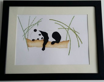 Sleepy Panda - A4 print - Children's Art Decor.