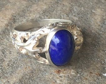 Vintage Sterling Silver & Cabachon Blue Lapis Leaves Swirls Ring Size 5.75