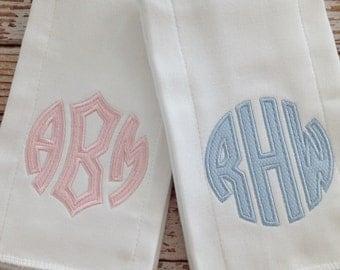 Applique Monogram Baby Burp Cloth For Girl or Boy