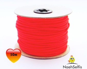50 M rubber cord 3 mm neon Red