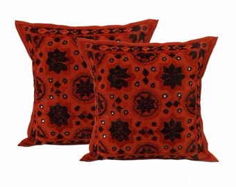 Beautiful Indian ethnic embroidered  Mirror work cushion covers set of 2 pcs