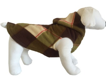 Fleece dog shirt Olive and Brown Plaid Sweater Dachshund sweatshirt pajamas dog Fleece warm puppy Small  Medium Large
