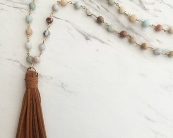 The Charmer-Tassel and Amazonite Necklace