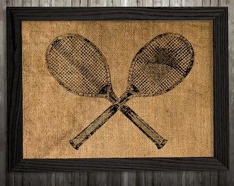 Tennis print Vintage art Retro poster Burlap print BLP421