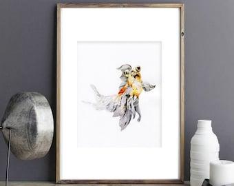 Goldfish water color art prints, goldfish illustration art print, goldfish home decor art, watercolour digital art print , goldfish giclee 4