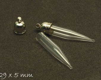 2 PCs beads vial hollow m. Cap pendant