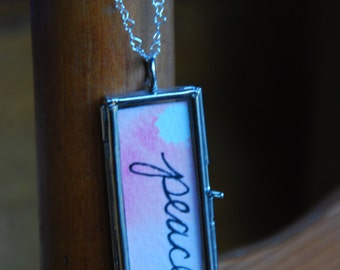 PEACE watercolor locket with sterling silver chain