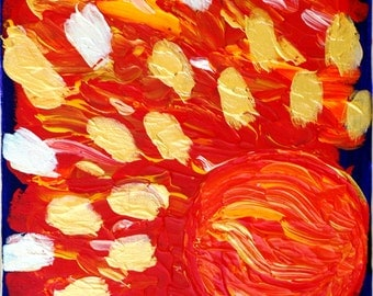 "The abstract painting ""burning sun"""