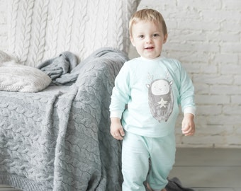 """Mint pajama for your little boy with """"Foresters"""" print"""