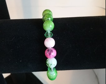 Lime Bracelet with White and Pink Accents