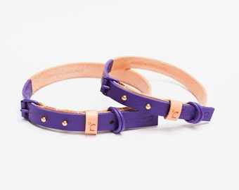 Leather dog collar | Violet | handmade using premium British leather