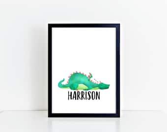 Personalised,  Sleeping Dragon, Nursery, wall print, dragon art, kids bedroom