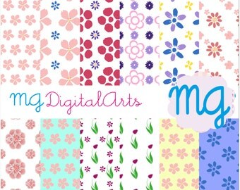 12 Digital paper, commercial use. Flower. Spring. Printable. 12 inches x 12 inches. 300 dpi. scrapbooking, craft paper. Scrapbook.