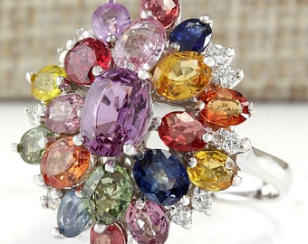 6.60CTW Natural Multi Color Ceylon Sapphire Diamond Ring In 14k white Gold