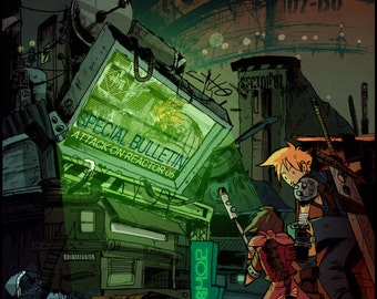 Final Fantasy VII, Digital Art Print, Cloud Strife print, Aerith illustration, Midgar poster, videogame decor, geek wall art, FF7 print