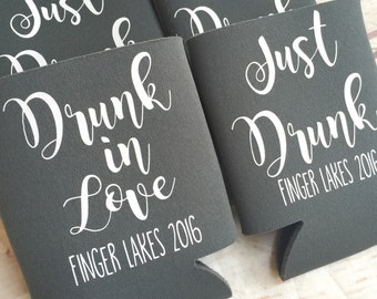 Bachelorette Party Favors - Bachelorette Can Coolers - Drunk In Love - Fun Wedding Favors - Personalized Bridesmaid Gift  - Bachelorette