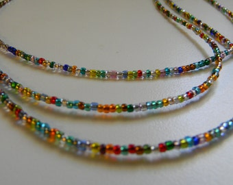 Triple-Strand Multi-Colored Bead Necklace Rainbow of Colors Bohemian