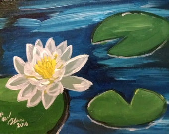 Original painting water lotus 5 x 10